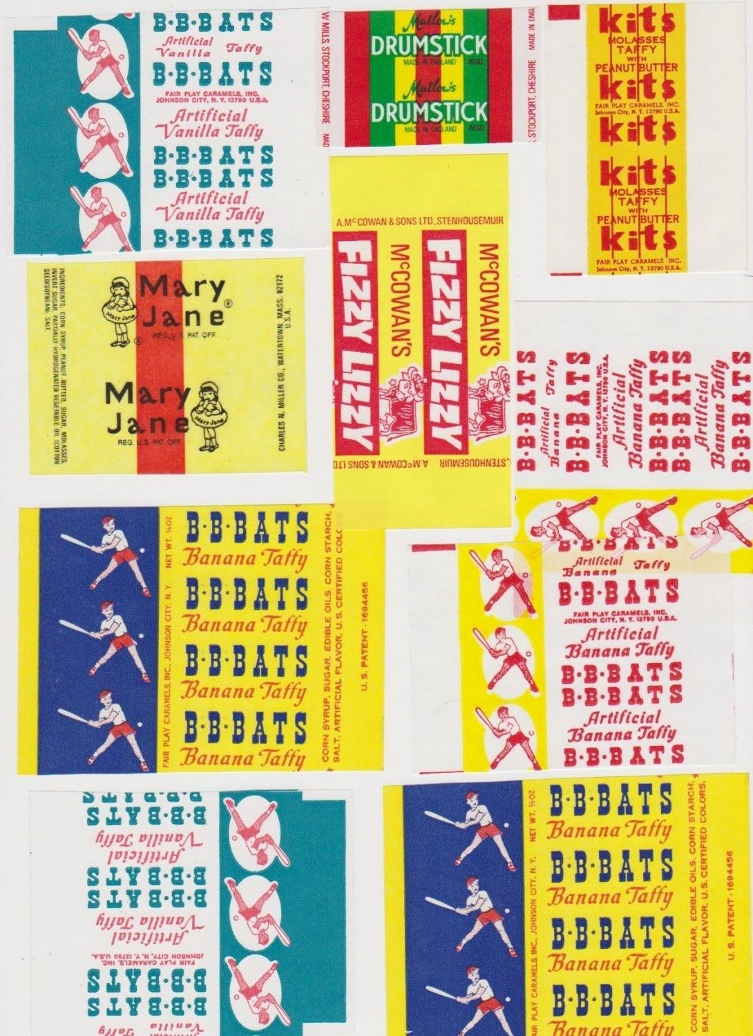 retro candy of the 50s   10 Vintage Candy Lolly Wrappers Labels Colourful Labels for Collage ...
