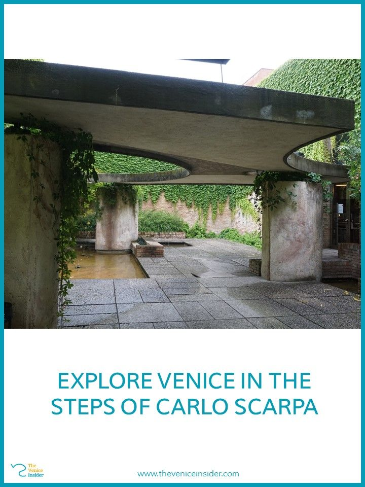 The sculpture garden of Carlo Scarpa is located in the central pavilion of the Giardini in Venice.
