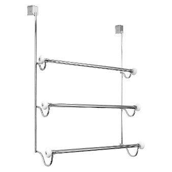 Over The Door 3 Bar Towel Rack Satin Interdesign