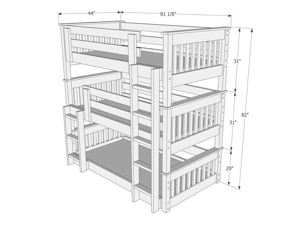 Dimensions of Triple Bunk Bed B63 | Bunk Bed in 2019 | Pinterest