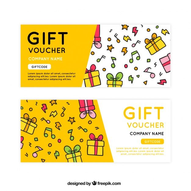 Hand-drawn gift vouchers with decorative musical notes Free Vector - design gift vouchers free