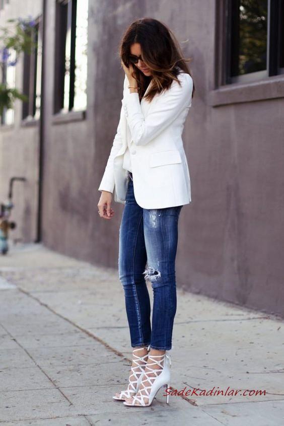 2020 Bayan Beyaz Blazer Ceket Kombinleri Lacivert Yirtik Kot Pantolon Beyaz Bluz Blazer Ceket Vizon Stiletto Ayakkabi Moda Stilleri Yirtik Kotlar Blazer Ceket