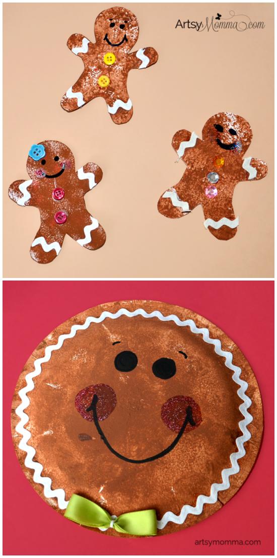 Sponge Painted Gingerbread Cookies 4 Ways! Preschool