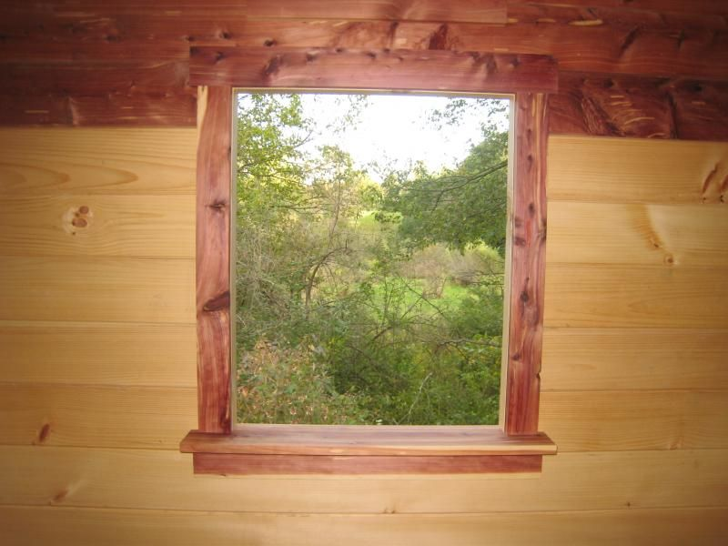 Cedar window trim was shooter view of the swamp before for Cottage style interior trim
