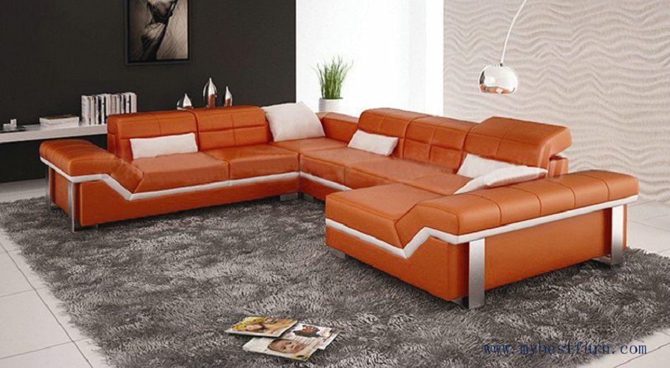 Free Shipping Modern Design Best Living Room Furniture Leather Sofa Set Orange Color Cheap Living Room Sets Leather Living Room Furniture Living Room Sofa #tan #leather #living #room #sets