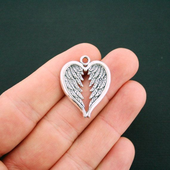 6 Angel Wing Heart Charms Antique Silver Tone SC6133