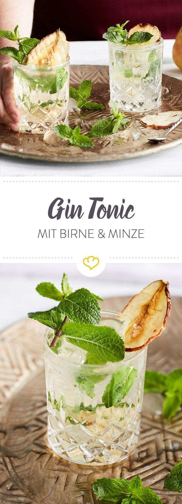 gin tonic mit getrockneter birne und frischer minze rezept 1 cocktails pinterest gin. Black Bedroom Furniture Sets. Home Design Ideas