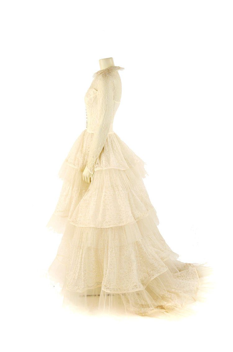 Vintage s emma domb sheer cream flroal lace tulle wedding gown