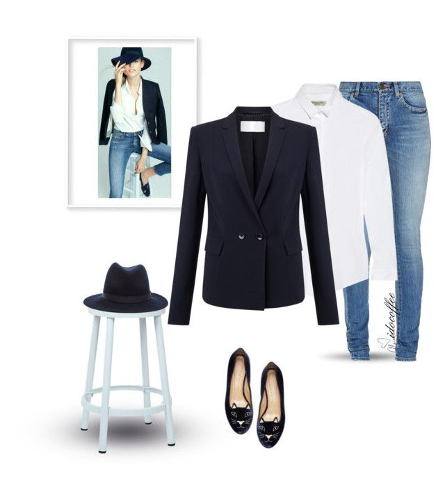 """""""Navy Blazer~White Button Up~Jeans 3/9/2016"""" by idocoffee ❤ liked on Polyvore featuring Yves Saint Laurent, Burberry, HUGO, OSP Designs, rag & bone, Charlotte Olympia and Love Always"""