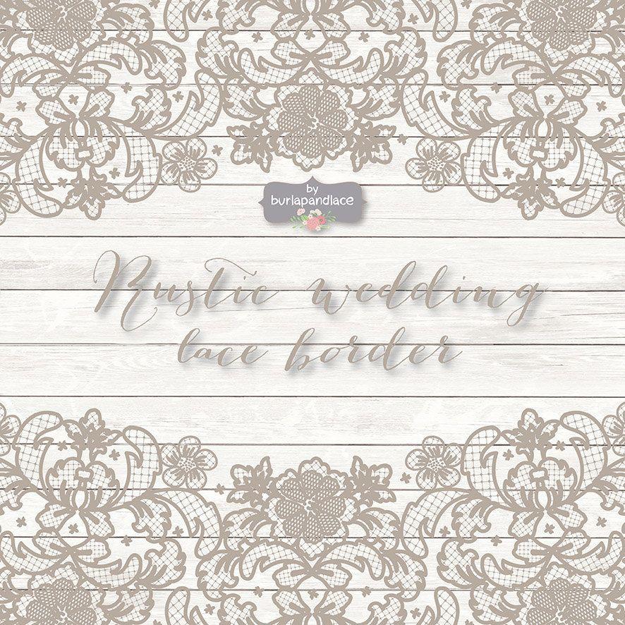 VECTOR Lace Border Rustic Wedding Invitation 1burlapandlace