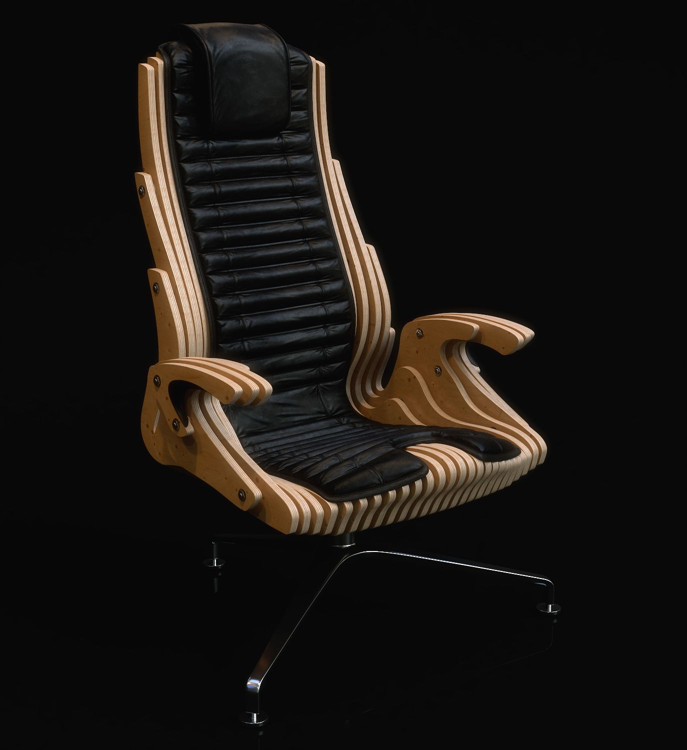 the concept of an office chair in the style of parametric design