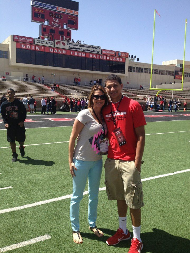 Patrick Mahomes and Mom at Texas Tech Spring Game. Patrick committed to FB at Tech.    Pinned using PinFace!