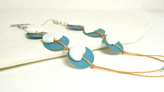 Long Blue Vinyl Record Beads and White Mother of Pearl Zuni Bears by InspirationByFlorna, $20.00