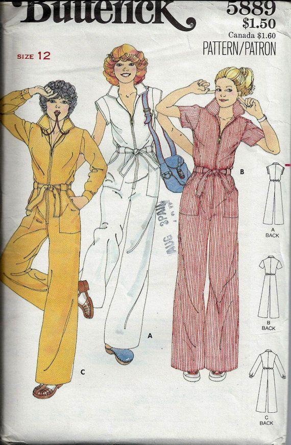 VTG Jumpsuit Pattern Butterick 5889 Size 12 by DawnsDesignBoutique, $10.00