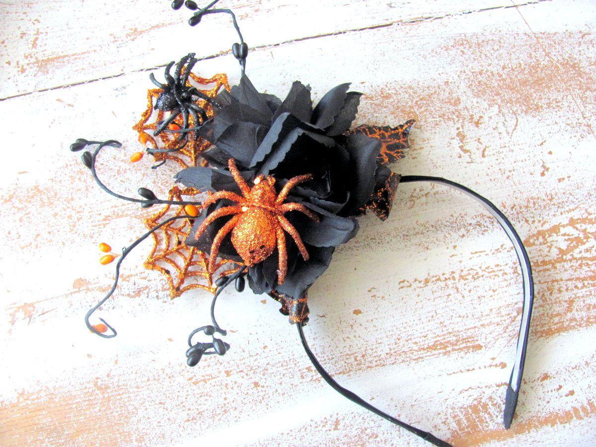 Spooky Halloween Headband Orange Black Flower Headband Spider
