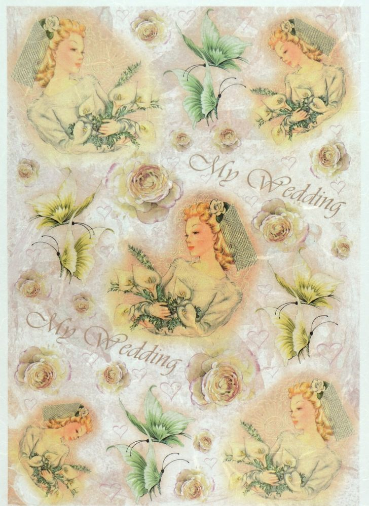 Rice Paper for Decoupage Decopatch Scrapbook Craft Sheet Vintage My Wedding