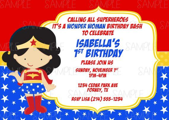Printable Wonder Woman Birthday Party Invitation Plus FREE Blank