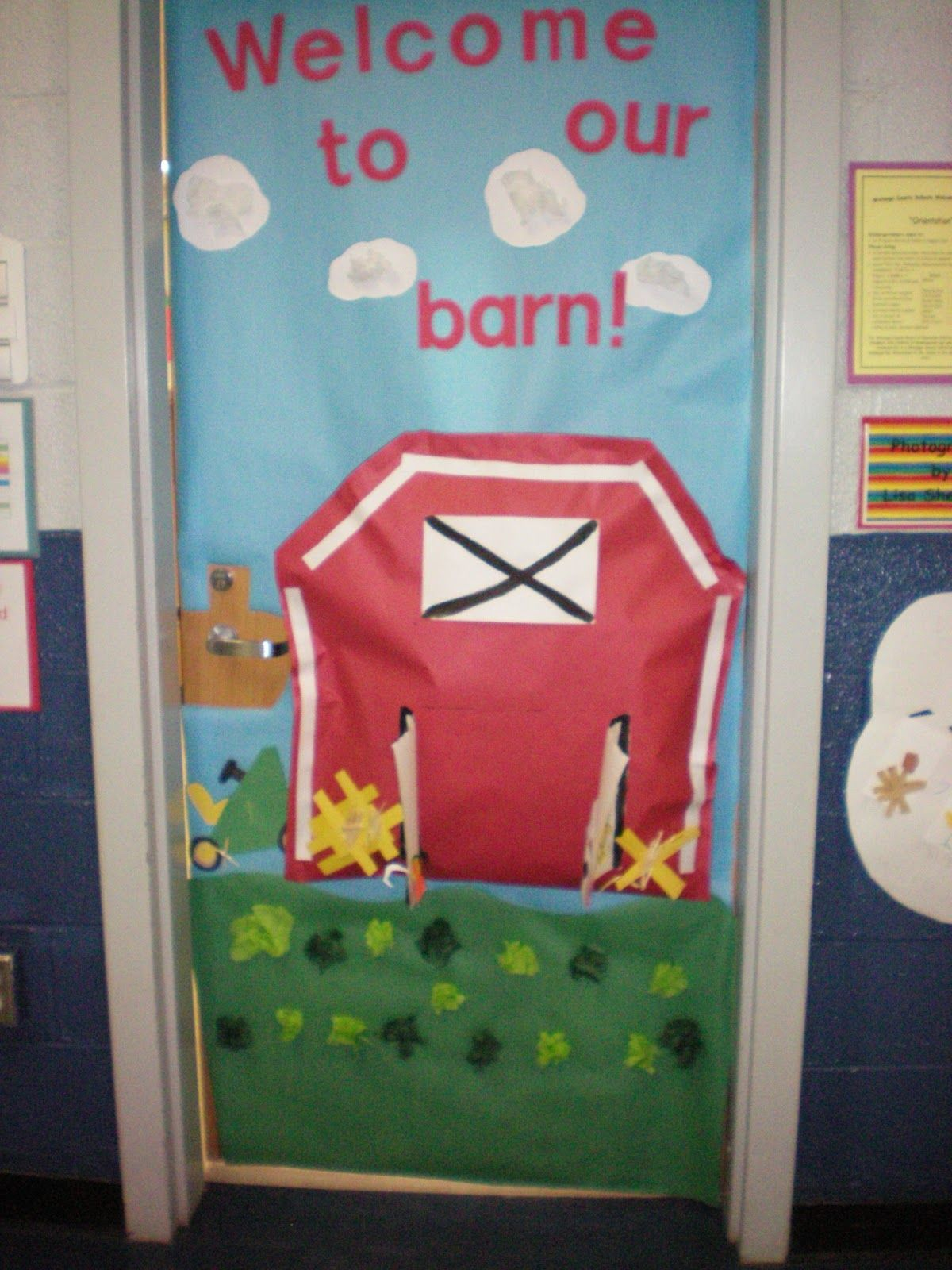 Classroom door decorations shell 39 s classroom door for Farm door ideas