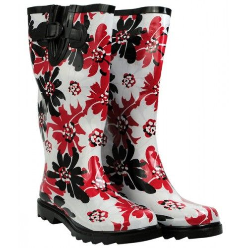 Red Black White Flowers Ladies Gumboots Wellies From Sarah J Home Decor