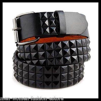 3-Row Metal Pyramid Studded Leather Belt Men/' Unisex Women/'s Punk Rock Goth Emo
