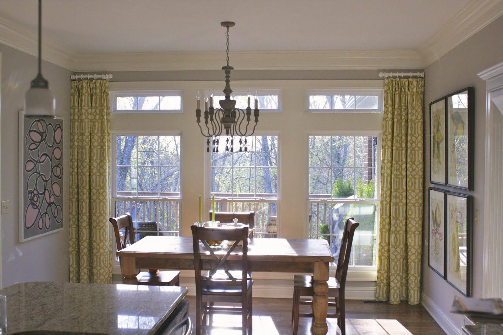 Side Panels On Window In Breakfast Area Living Room Windows Curtains Living Room Large Window Curtains