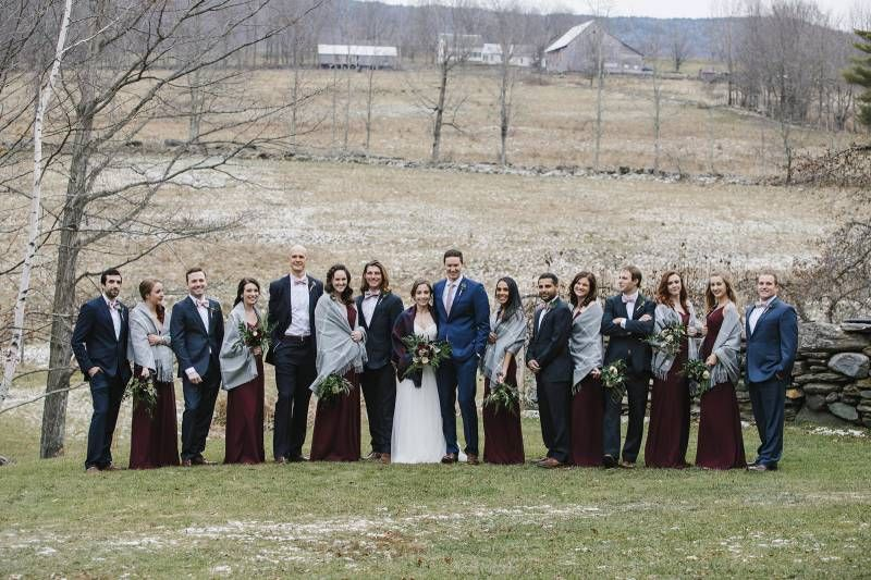 A Shot Of The Wedding Party Wearing Burgundy And Navy For Winter Wedding In Vermont Vermont Wedding Vermont Wedding Venues Winter Wedding Inspiration