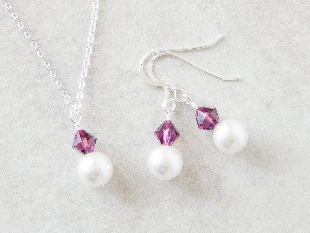Purple Jewelry Set Wedding Party gift Bridesmaid Amethyst Jewelry Set Bridesmaid Proposal Maid of Honor Gift Bridal Jewelry Set