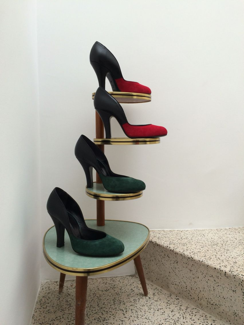 Penahaus shoes women collection. Lilly Jayne in red and green suede. 1950's repro