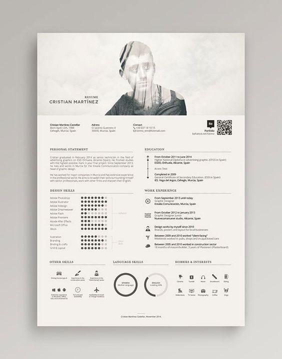 34 Outside-the-box CV Resume Designs Resume Pinterest Double