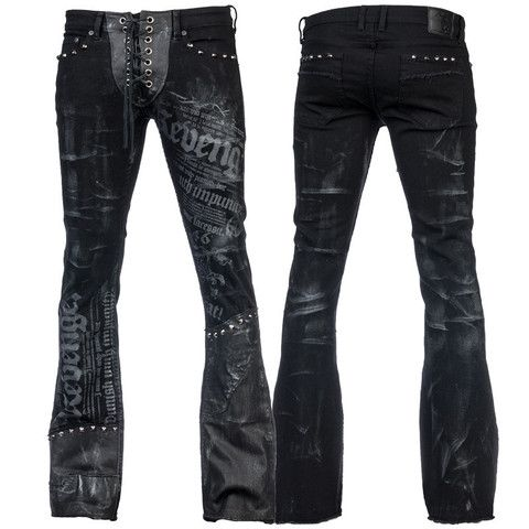 Stage Pants MTO - Distressed Black Denim and Leather WSCP-145