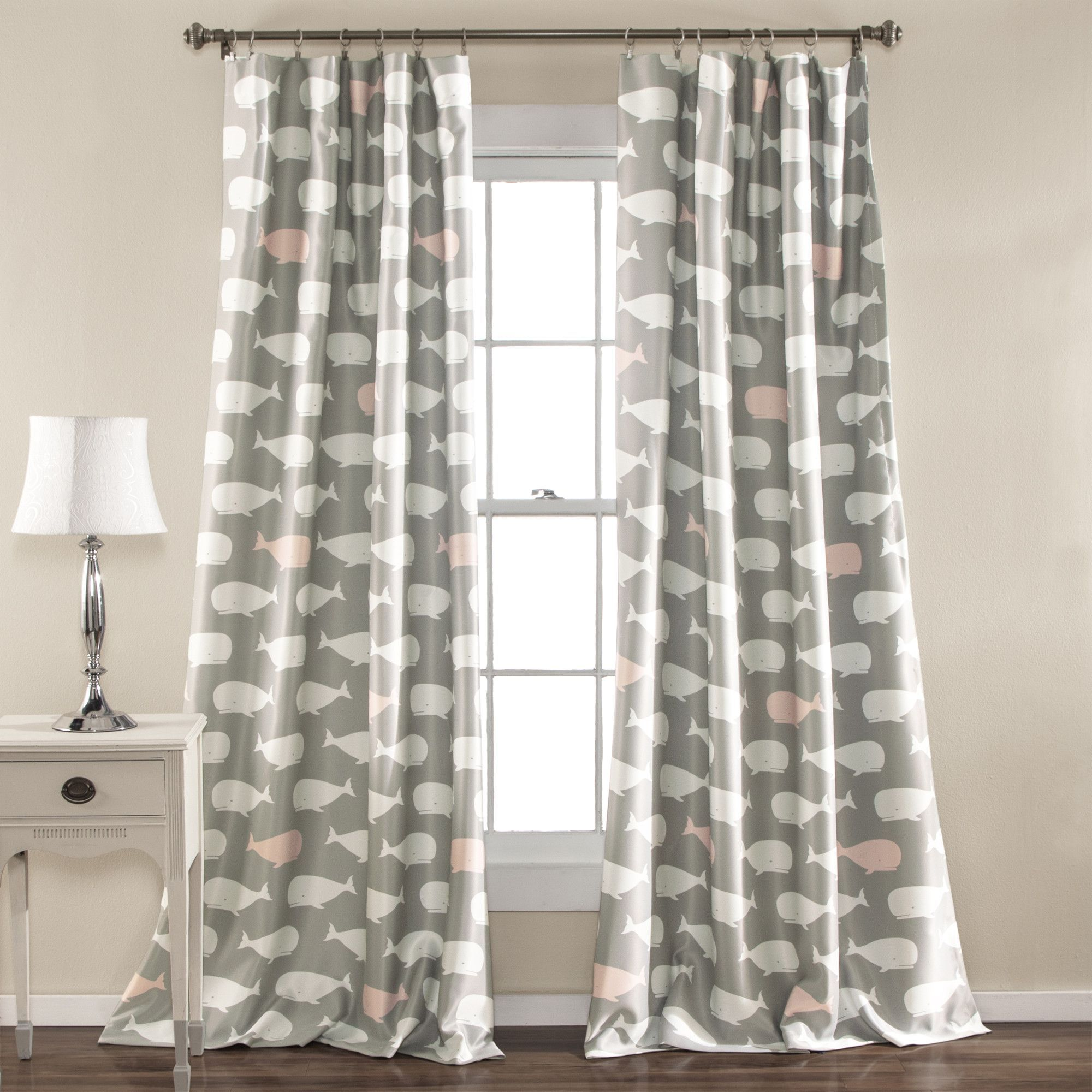 Whale Window Curtain Panel Set Panel Curtains Drapes Curtains