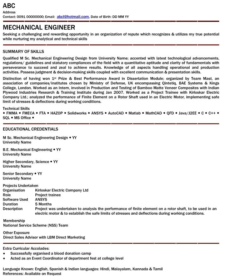 Mechanical Engineer Resume For Fresher Engineering