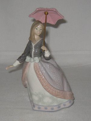 Lladro Angela Girl Woman With Parasol Umbrella 5211 Mint Figurine