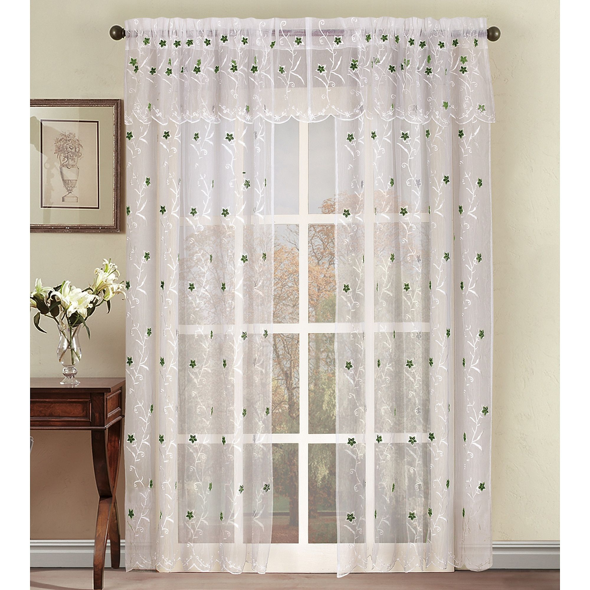Astor Sheer Embroidered Rod Pocket Window Curtain Panel Bed Bath