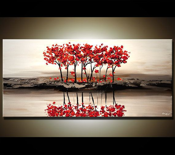 48 Abstract Contemporary Red Blooming Tree by OsnatFineArt on Etsy