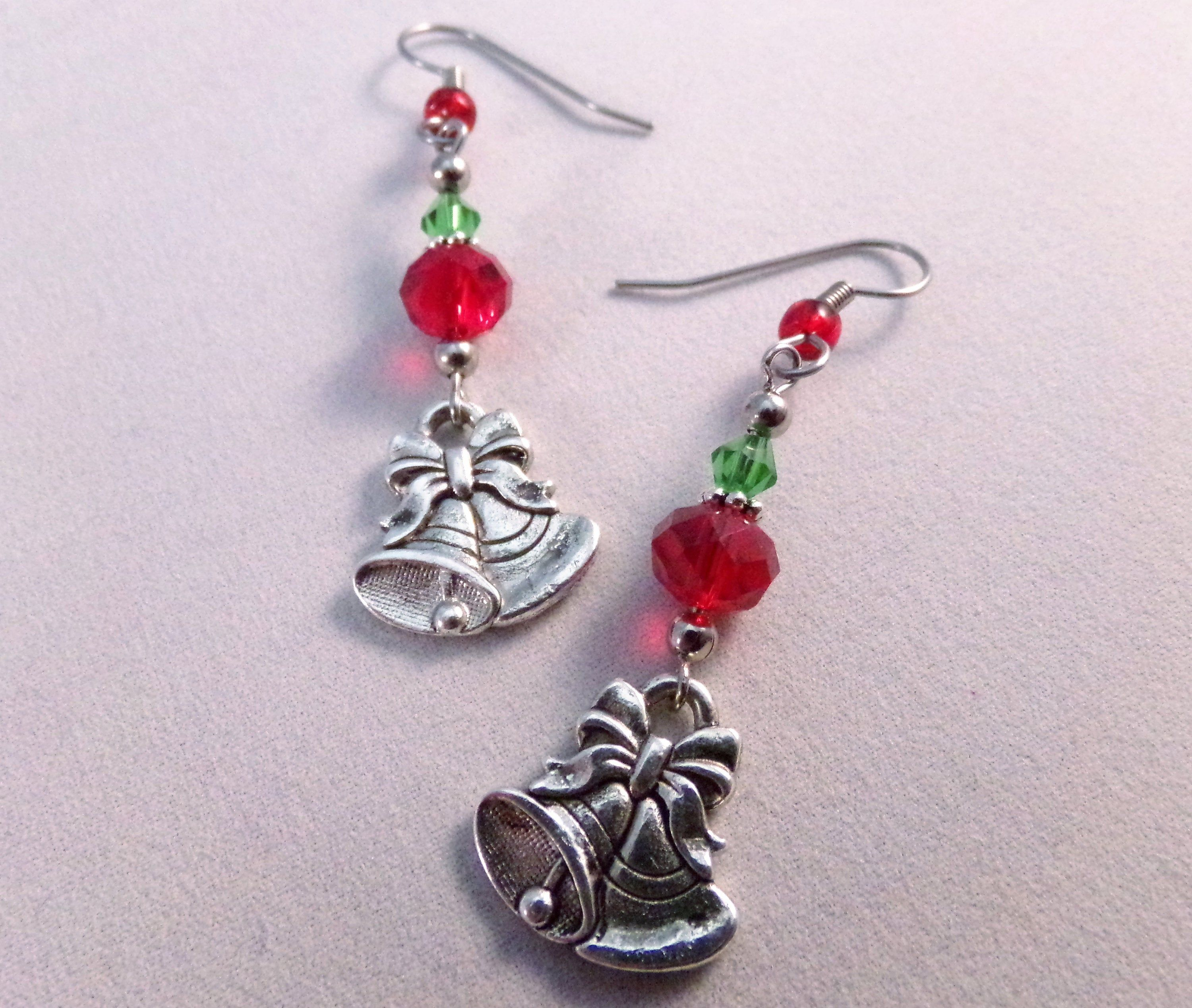 Christmas crystal and bell charm earrings red and green