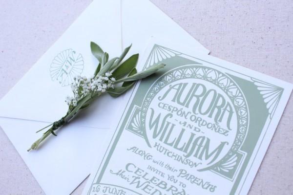 Old World Art Deco Wedding Invitations The Hungry Fox4 600x399 Aurora + Williams Art Deco Screen Printed Wedding Invitations