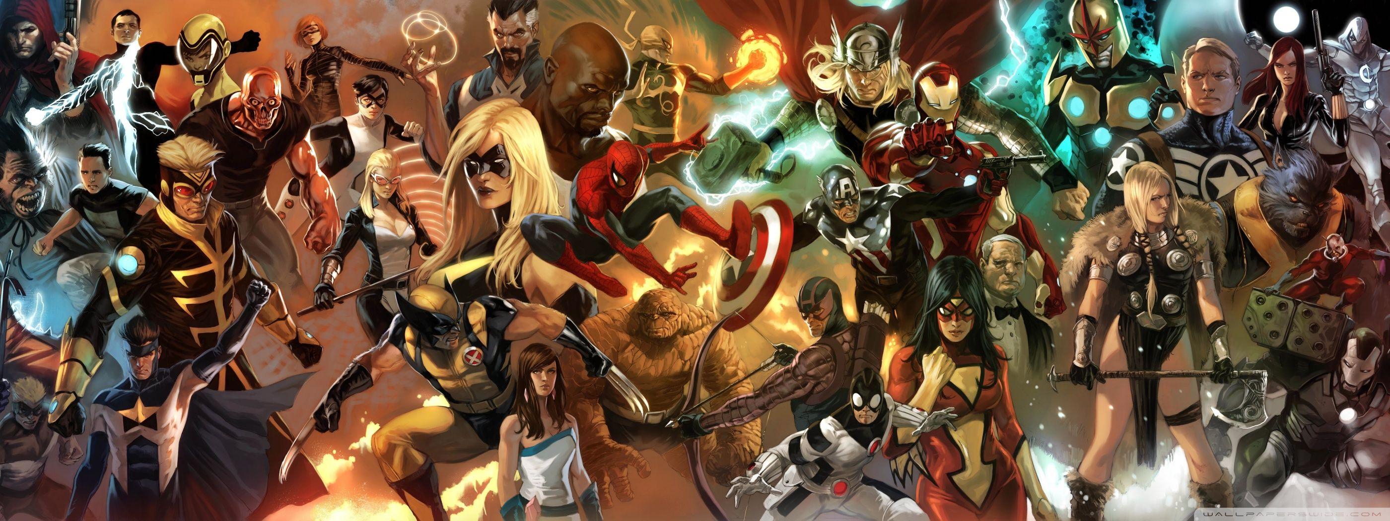 Marvel Comics Characters Hd Desktop Wallpaper Dual Monitor Superhero Poster Marvel Wallpaper Avengers Poster