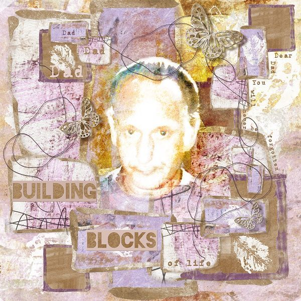 BUILDING BLOCKS: Portrait of my dad, crayonlook on photo. Page for my dad, who was my rock. I made this page with LIDC Essence 1 & Essence 1 Add-on by Idees de Christine, available at Pixels and Art Designs