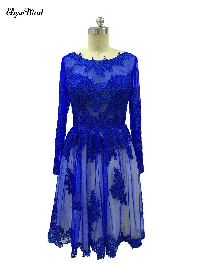 Lace dress royal blue  Click to Buy ucuc Cute ALine Scoop Neck Royal Blue Cocktail Dresses