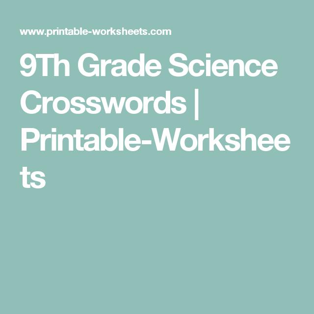 9Th Grade Science Crosswords | Printable-Worksheets | Homeschool ...