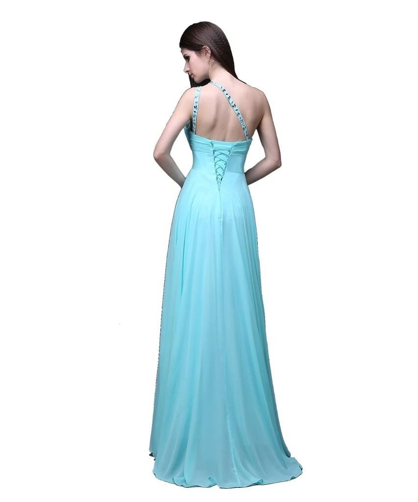 Kmformals Womens One Shoulder Long Prom Dresses Size 28 Burgundy