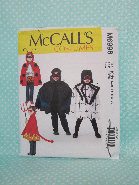 kids halloween costume pattern cheapest shipping simple cape costumes spider ladybug bat devil patterns mccalls 6998 szxs l