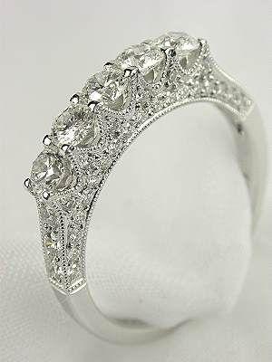 c1409b6808f27 Antique Style 5 Stone Diamond Wedding Ring, RG-2420d | Vintage ...