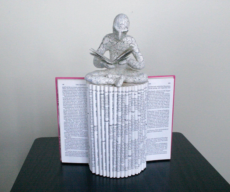The Reader Original Sculpture By Daniel Lai Folded Book Art