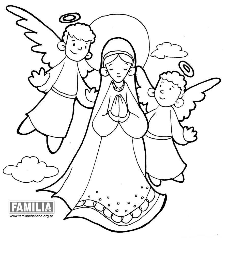 Resultado de imagen para angeles para colorear para bautizo | Virgen ...
