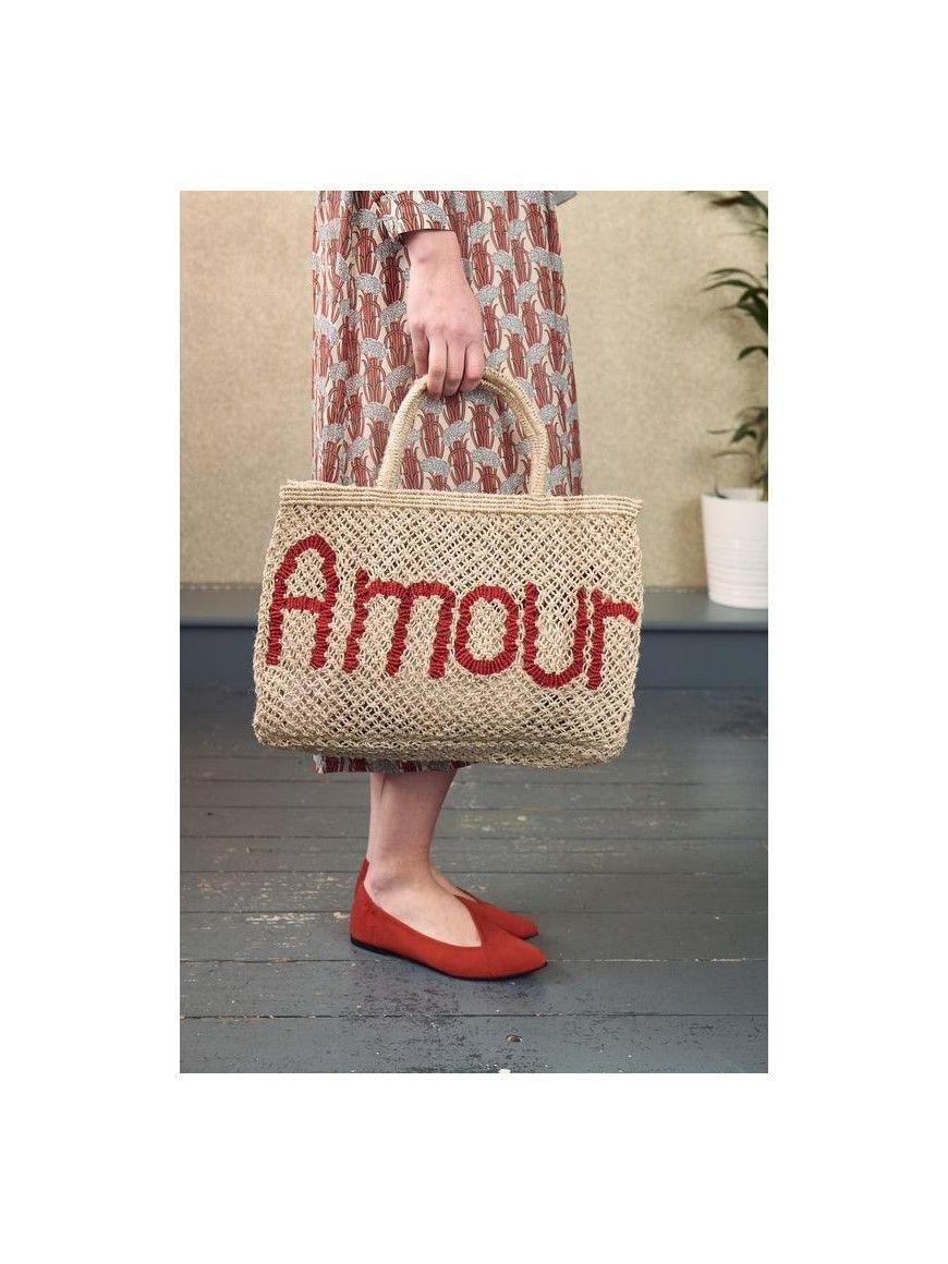 PequeñoBolsas Bolso Yute De Amour Y Natural Rojo 54RLj3Aq