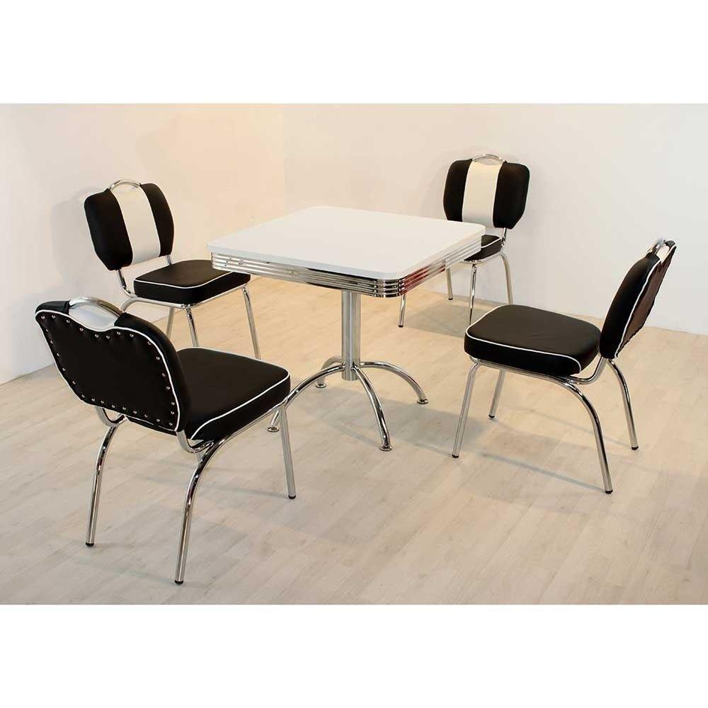 Us Diner Mobel Set Tischgruppe In Schwarz Weiss Barataria Wohnen De Esstisch Stuhle Esszimmer Mobel Esszimmer Modern