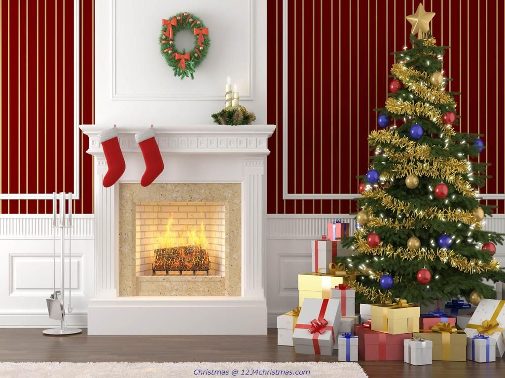 christmas tree and fireplace desktop wallpaper