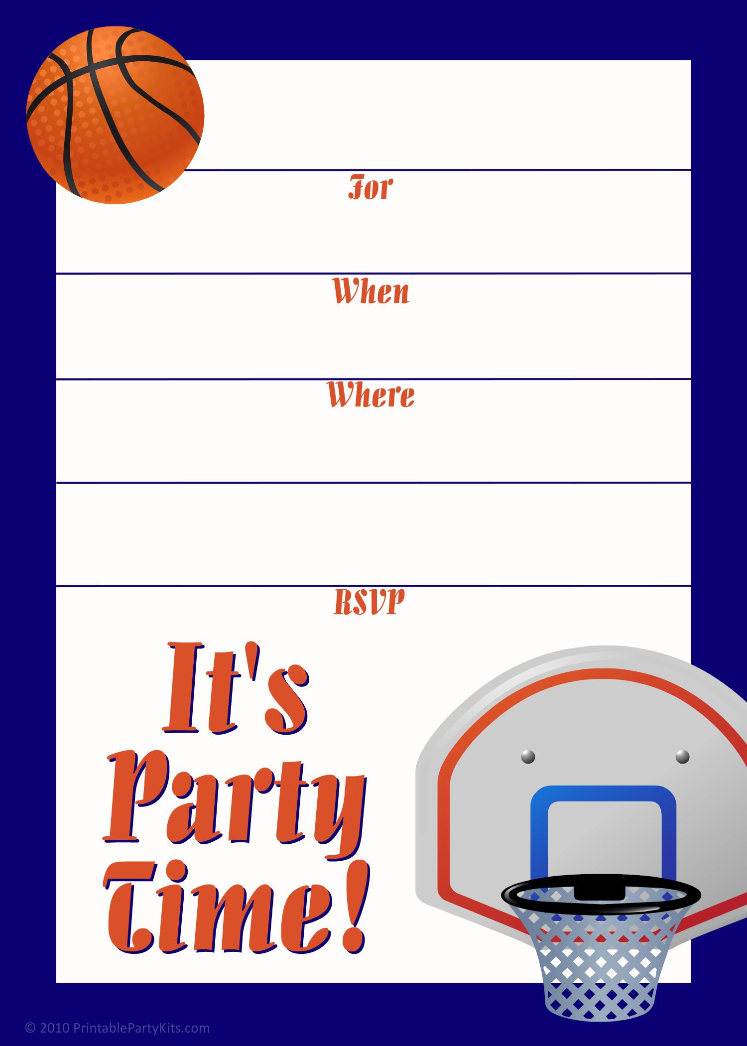 Free Printable Sports Birthday Party Invitations Templates | Basti\'s ...